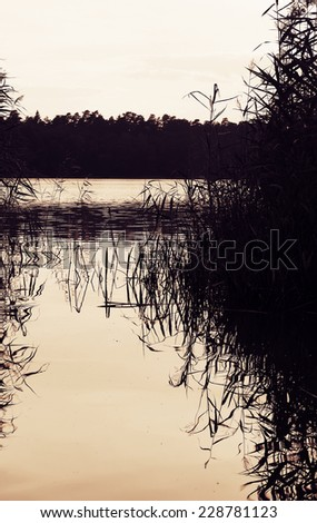 Beautiful lake on cloudy day in black and white - stock photo