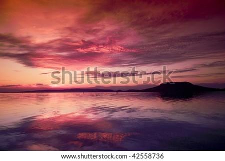 Beautiful lake on sunset , Balaton Hungary - stock photo