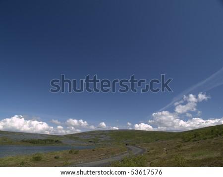 Beautiful lake view - bright - stock photo