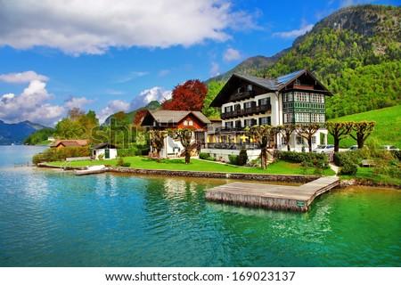 beautiful lakes of Austria. st.Wolfgang - stock photo