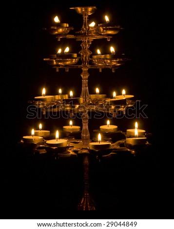Beautiful Lamp on a Black Background - stock photo