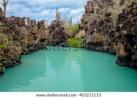 Beautiful landmark Las Grietas is a geological canyon formation in Galapagos Islands at Santa Cruz, Puerto Ayora - stock photo