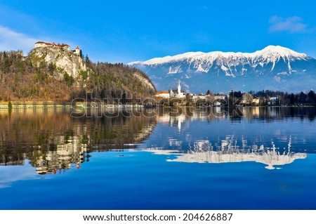 Beautiful Landscape around Lake Bled in Slovenia - stock photo