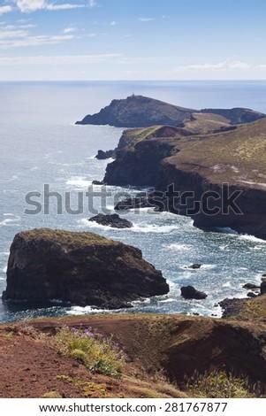Beautiful landscape at the north coast of Ponta de Sao Lourenco,the easternmost part of Madeira Island - stock photo