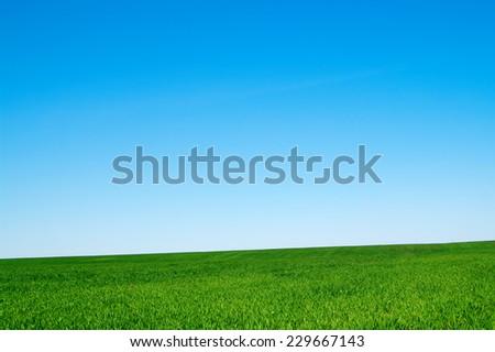 beautiful landscape, clean blue sky - stock photo