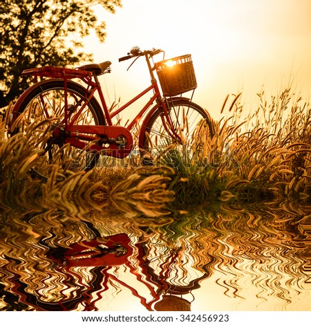 beautiful landscape image  with Bicycle reflection at sunset - stock photo