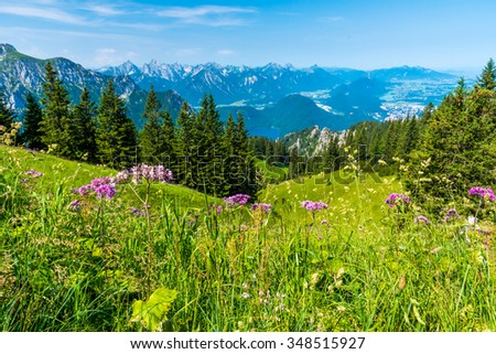 Beautiful Landscape in Alps of Germany, Tegelberg - stock photo
