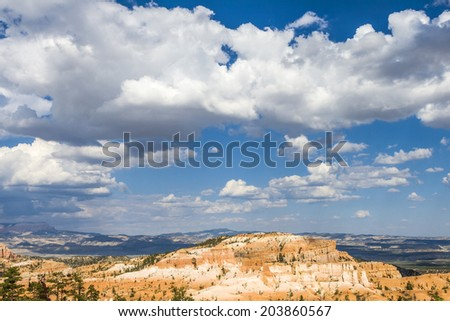 beautiful landscape in Bryce Canyon with magnificent Stone formation - stock photo
