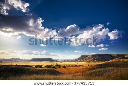 Beautiful landscape in Cappadocia, Turkey - stock photo