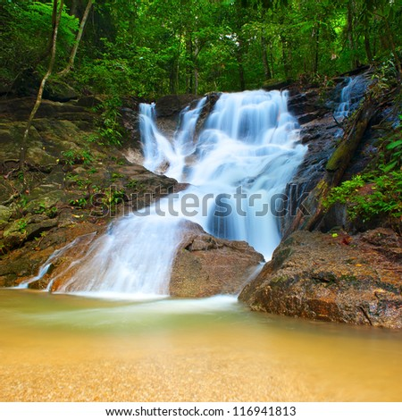 Beautiful landscape in deep forest with mountain creek and waterfall - stock photo