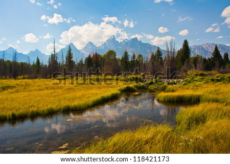 Beautiful Landscape in Grand Teton National Park - stock photo