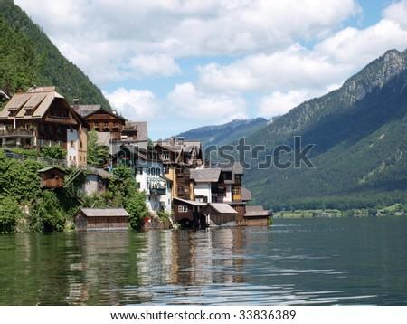 Beautiful landscape in Hallstatt town of  Austria - stock photo
