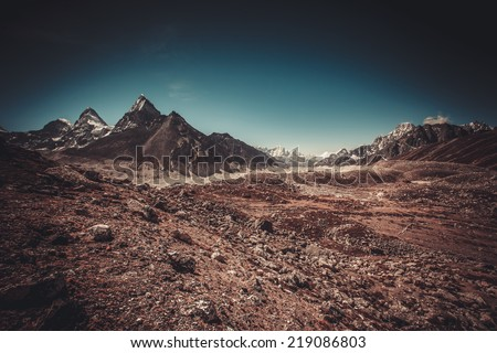 Beautiful landscape in Himalays, Nepal - stock photo
