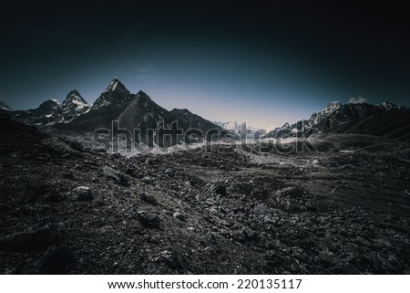 Beautiful landscape in Himalays, Nepal - stock photo