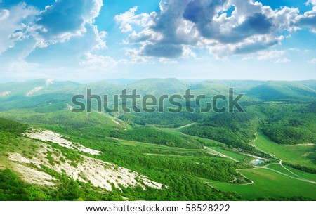 Beautiful landscape in mountain. Composition of nature - stock photo