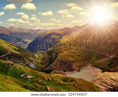 Beautiful landscape in National park Hohe Tauern at sunset, Austria - stock photo