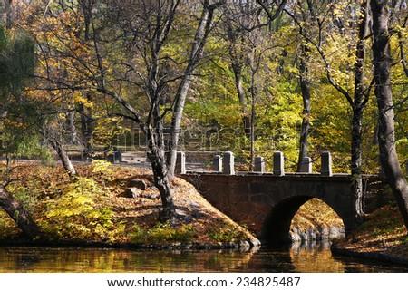 Beautiful landscape in park - stock photo