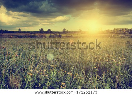 Beautiful landscape in sunset - stock photo