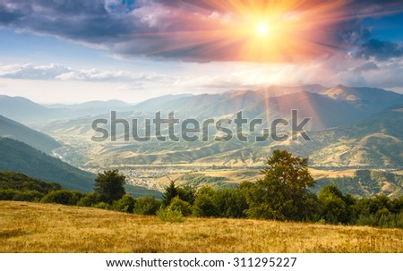 Beautiful landscape in the mountains at sunshine. - stock photo