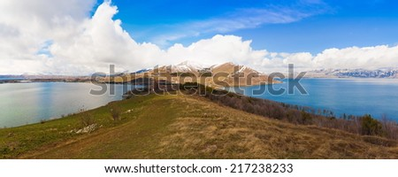 beautiful  landscape  lake  Sevan spring day Armenia - stock photo