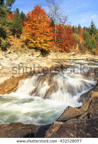 beautiful Landscape, mountain river in autumn forest - stock photo