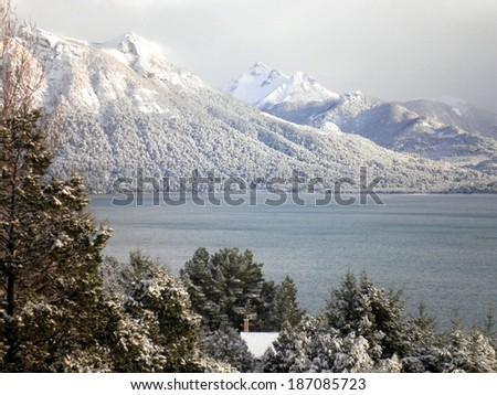 Beautiful landscape mountains lake Bariloche, Patagonia Argentina. - stock photo