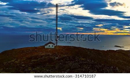 Beautiful landscape Norwegian Islands with radio - stock photo