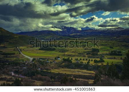 beautiful landscape of crown range road view point ,between wanaka town to queenstown south island new zealand - stock photo