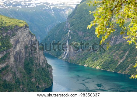 Beautiful landscape of Geiranger fjord from Dalsnibaa, Norway, Scandinavia - stock photo