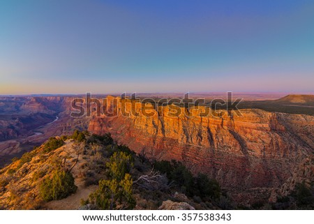 Beautiful Landscape of Grand Canyon from Desert View Point during dusk - stock photo