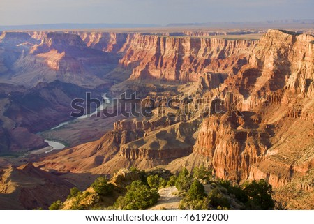 Beautiful Landscape of Grand Canyon from Desert View Point with the Colorado River visible during dusk - stock photo