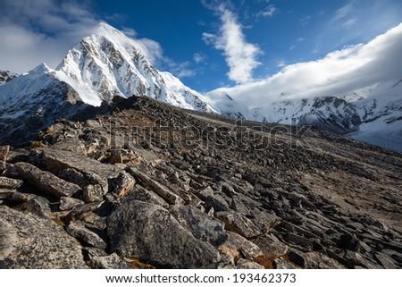 Beautiful landscape of Himalaya mountains  - stock photo