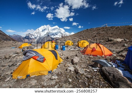 Beautiful landscape of Himalayas mountains with base camp at the foot of Manaslu mountain - stock photo