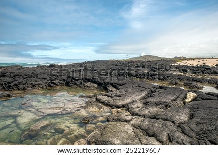 Beautiful landscape of Isabela Island, is the largest island of the Galapagos Islands, Ecuador - stock photo