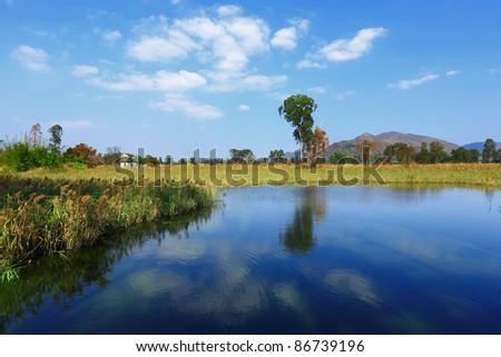 Beautiful landscape of Lake - stock photo