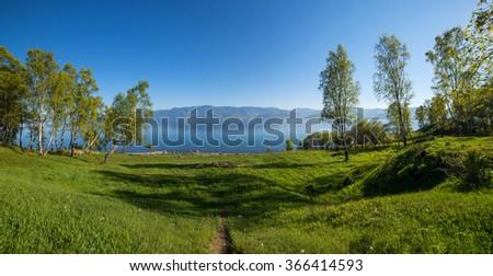 Beautiful landscape of lake Baikal - stock photo