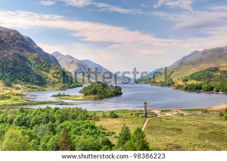 Beautiful landscape of  Loch Shiel in Glenfinnan, Scotland - stock photo
