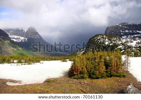 Beautiful landscape of mountains at Logan pass - stock photo