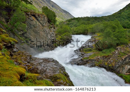 Beautiful landscape of Norway,wild river, Scandinavia - stock photo