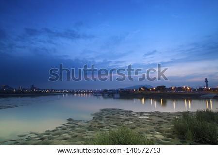 beautiful landscape of riverside in twilight - stock photo