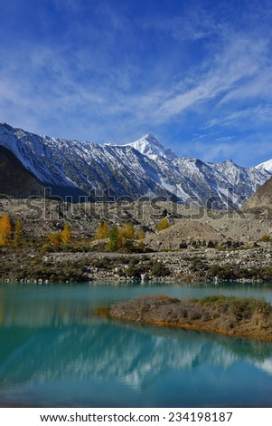 beautiful Landscape of Shispare peak in Autumn season. Northern Area of Pakistan. - stock photo