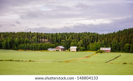 Beautiful landscape of the nature of Finland - stock photo