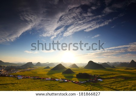 Beautiful landscape rapeseed field or canola flower field in village with sunrise a blue sky in spring, Luoping at China  - stock photo