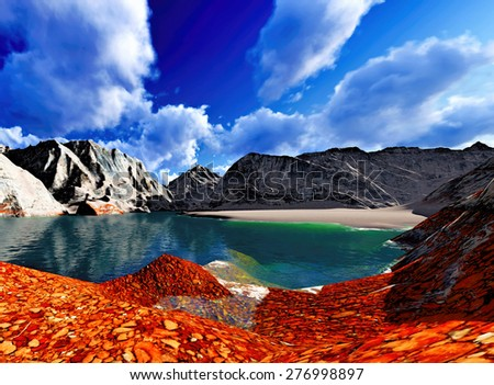 Beautiful landscape showing the mountains - stock photo