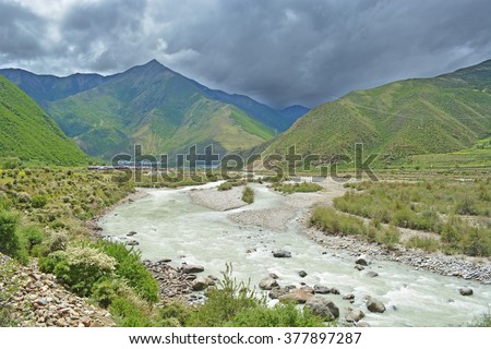 beautiful landscape valley and river  - stock photo