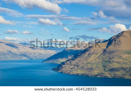 Beautiful landscape view from the Queenstown Skyline, New Zealand - stock photo
