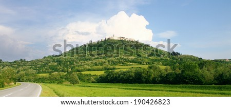 Beautiful landscape. View of medieval town Motovun on a top of a hill, Croatia. - stock photo