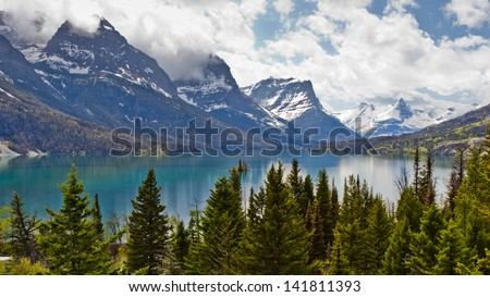 Beautiful landscape view of St  Mary Lake in Glacier National Park, Montana, USA - stock photo