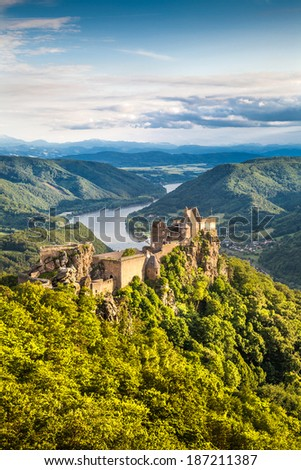 Beautiful landscape with Aggstein castle ruin and Danube river at sunset in Wachau valley near Vienna, Lower Austria, Austria - stock photo
