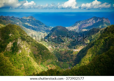 beautiful landscape with Atlantic ocean and hills of Madeira, Portugal - stock photo